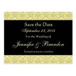 Pale Gold & Black Damask Save The Date Postcard