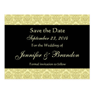 Pale Gold & Black Damask Save The Date Postcard
