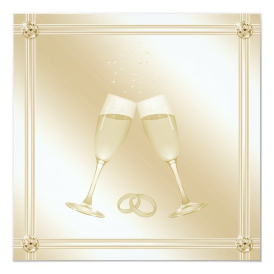 Pale Gold Champagne Glasses & Sapphires Wedding Card