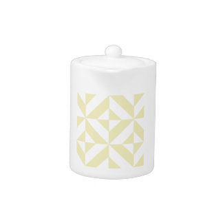 Pale Gold Geometric Deco Cube Pattern Teapot
