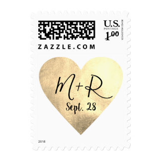 pale gold love heart with script initials wed postage