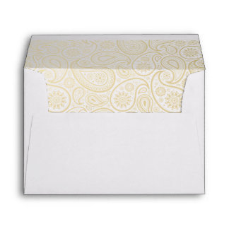 Pale Gold Paisley on White Envelope