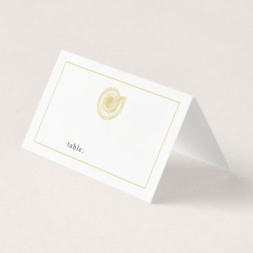 Beach Themed Pale Gold Seashell Blank Table Guest Place Card
