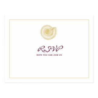 Pale Gold Seashell Burgundy RSVP Postcard