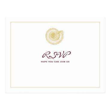Beach Themed Pale Gold Seashell Burgundy RSVP Postcard