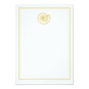 Beach Themed Pale Gold Seashell with Border Card