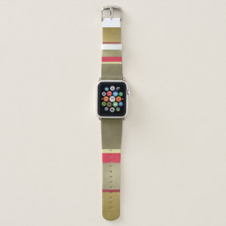 PALE GOLD SILVER RED CLASSIC ROYAL VINTAGE STRIPS APPLE WATCH BAND