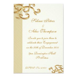 Pale Gold Stripe  Engagement Invitation
