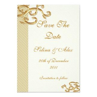 Pale Gold stripe Save the Date Card