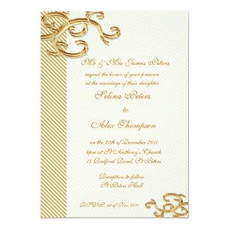 Pale Gold Stripe Wedding Invitation
