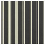 [ Thumbnail: Pale Goldenrod and Black Colored Striped Pattern Fabric ]