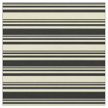 [ Thumbnail: Pale Goldenrod and Black Lines/Stripes Pattern Fabric ]