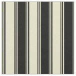 [ Thumbnail: Pale Goldenrod and Black Stripes/Lines Pattern Fabric ]