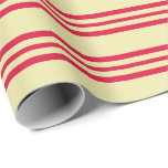 [ Thumbnail: Pale Goldenrod and Crimson Colored Lines Wrapping Paper ]