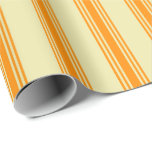 [ Thumbnail: Pale Goldenrod and Dark Orange Lines Wrapping Paper ]