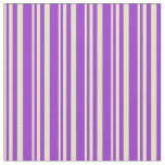 [ Thumbnail: Pale Goldenrod and Dark Orchid Colored Stripes Fabric ]