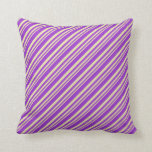[ Thumbnail: Pale Goldenrod and Dark Orchid Colored Stripes Throw Pillow ]