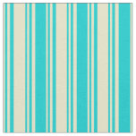 [ Thumbnail: Pale Goldenrod and Dark Turquoise Colored Lines Fabric ]