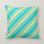 [ Thumbnail: Pale Goldenrod and Dark Turquoise Colored Lines Throw Pillow ]