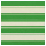[ Thumbnail: Pale Goldenrod and Green Colored Lines Fabric ]