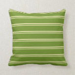 [ Thumbnail: Pale Goldenrod and Green Lines Pattern Pillow ]