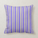 [ Thumbnail: Pale Goldenrod and Medium Slate Blue Colored Throw Pillow ]