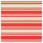 [ Thumbnail: Pale Goldenrod and Red Colored Stripes Fabric ]