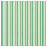 [ Thumbnail: Pale Goldenrod and Sea Green Pattern of Stripes Fabric ]