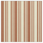 [ Thumbnail: Pale Goldenrod and Sienna Lines Fabric ]