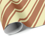 [ Thumbnail: Pale Goldenrod and Sienna Lines/Stripes Pattern Wrapping Paper ]
