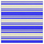 [ Thumbnail: Pale Goldenrod & Blue Colored Stripes Fabric ]