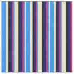 [ Thumbnail: Pale Goldenrod, Blue, Crimson, Dark Blue & Black Fabric ]