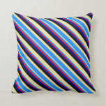 [ Thumbnail: Pale Goldenrod, Blue, Crimson, Dark Blue & Black Throw Pillow ]