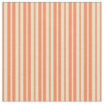 [ Thumbnail: Pale Goldenrod & Coral Stripes Fabric ]