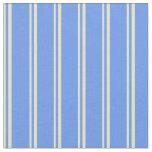 [ Thumbnail: Pale Goldenrod & Cornflower Blue Colored Stripes Fabric ]