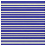 [ Thumbnail: Pale Goldenrod & Dark Blue Colored Lines Pattern Fabric ]