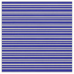 [ Thumbnail: Pale Goldenrod & Dark Blue Colored Stripes Fabric ]