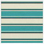 [ Thumbnail: Pale Goldenrod, Dark Cyan & Black Stripes Fabric ]