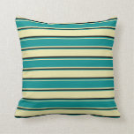 [ Thumbnail: Pale Goldenrod, Dark Cyan & Black Stripes Pillow ]