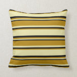 [ Thumbnail: Pale Goldenrod, Dark Goldenrod, and Black Colored Throw Pillow ]