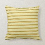 [ Thumbnail: Pale Goldenrod & Dark Goldenrod Stripes Pillow ]