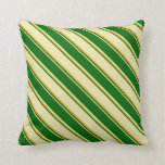 [ Thumbnail: Pale Goldenrod, Dark Green, and Goldenrod Colored Throw Pillow ]
