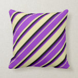 [ Thumbnail: Pale Goldenrod, Dark Orchid, Indigo & Black Lines Throw Pillow ]