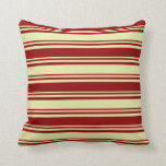 [ Thumbnail: Pale Goldenrod & Dark Red Colored Stripes Pattern Throw Pillow ]