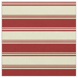 [ Thumbnail: Pale Goldenrod & Dark Red Lines Fabric ]