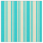 [ Thumbnail: Pale Goldenrod & Dark Turquoise Lined Pattern Fabric ]