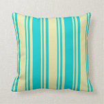 [ Thumbnail: Pale Goldenrod & Dark Turquoise Lined Pattern Throw Pillow ]
