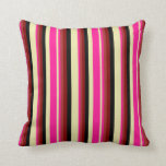 [ Thumbnail: Pale Goldenrod, Deep Pink, Brown, Maroon & Black Throw Pillow ]