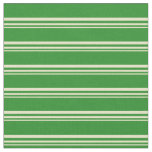 [ Thumbnail: Pale Goldenrod & Forest Green Colored Lines Fabric ]