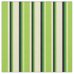[ Thumbnail: Pale Goldenrod, Green, Forest Green & Black Lines Fabric ]